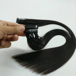 Meilleurs cheveux remy droites en Ligne-Extensions de cheveux humains 6d de la meilleure qualité double dessinés 0,5 g / s 200strands / lot Cheveux humains de vague droite 6D