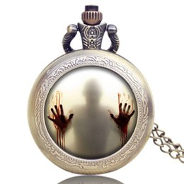 Wholesale Woman Vintage Watch - Cool The Walking Dead Theme Zombie Design Pocket Watch Men Women Vintage Bronze Pendant Clock Gift with Fob Necklace Chain reloj de bolsillo