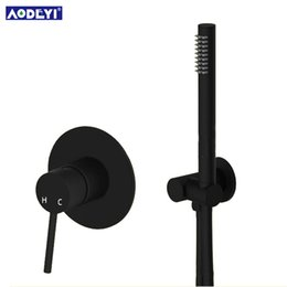 Wholesale hand held mixers - Brass Black Hand Held Shower Set Bathroom Shower Diverter Mixer Valve and Holder Hose