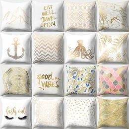 travesseiros de sofá de ouro Desconto Quadrado Dos Desenhos Animados Fronha Bronzeando Ouro Decorativo Cintura Fronhas Para Sofá Car Home Decor 45 cm * 45 cm Atacado