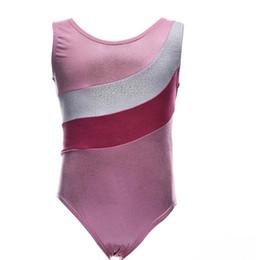 2019 trajes de dos caras Niñas Pink Ballet Dance Leotardos Niños Spandex Girls Dancewear Brillante Metallic Gymnastics Sport Suits para Niños