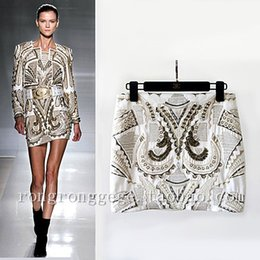 Wholesale Embroidery Baroque - Spring and summer women gold embroidery fashion baroque metal beading skirt a-line women skirt