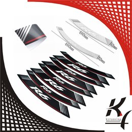 "Wholesale Sticker R6 - High Quality Motorcycle rim strips ""R6"" logo Stickers wheel decals for YAMAHA YZF R6 YZF-R6"