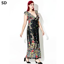 SD Bohemian Floral Print Beach Dress 2018 Ladies sweet V-Neck Robe Maxi  Beach Vestido Women plus size Oversized long dresses W67 viscose ladies  casual ... 0fe1f1633fe5