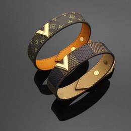 Wholesale Black Bracelets For Women - 316L Titanium steel genuine leather bracelets with gold V shape design for women and men flower print bracelet 23cm brand wedding jewelry