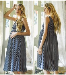Vestidos de maternidade soltos on-line-Moda Feminina Maternidade Vestidos de Verão Solto Stripe Grávida Vestido Mummu Roupas Drop Shipping