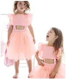 Wholesale Flying Outfits - Summer Baby Girls Fashion Backless Tutu Dress Flying Sleeve Bow Gauze Dress Princess Beach Toddler Skirt Outfits 2 Colors B11