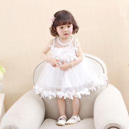 Canada Princesse Fleur Filles Robe 2018 Printemps Automne Mode infantile bébé pétale vêtements Enfant Enfants maille fil Robe De Bal Robes 1-4y Offre