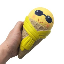 Wholesale Ice Cream Cone Toy - emoji Ice Cream 18cm*9.5cm Cone Jumbo sunglasses ice cream Slow Rising With Packaging Collection Gift Soft Toy