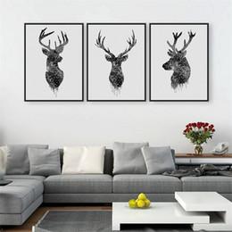 Wholesale Nueva pintura de la lona a prueba de agua sala de estar arte de la pared fotos de animales impresión negro cabeza de ciervo blanco pinturas modernas venta caliente aw4 aa