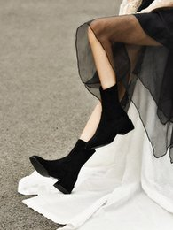 petites bottes à talons Promotion Chaussettes en tissu élastique, nouveau talon épais, petites bottines