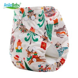Wholesale Wholesale Newborn Cloth Diapers - Ananbaby Xmas Cloth Diaper Reusable Baby Nappies Waterproof Winter Newborn Cover Snap Pocket Diapers Washable Cottot HA037K