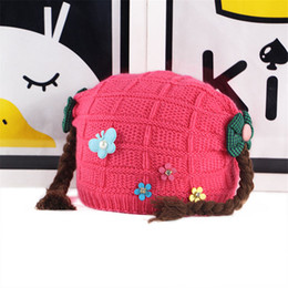 378adcabafc 2019 winter new girl wig wool hat full velvet warm baby knit hat children  hat wholesale