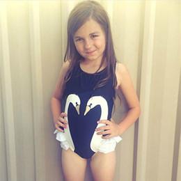 Modelos lindos del bebé negro online-Modelos de explosión 2018 Primavera y verano Nueva Super Cute Black Swan Flamingo Parrot Girl Baby Traje de baño de una pieza