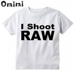 Wholesale Cooling Neck Bands - Children I Shoot RAW Band Design Tops Boys Girls Casual T Shirt Kids Cool White T-Shirt