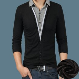 Wholesale Knit Striped Shirt - Men's Shirt Long Sleeve Thick Autumn Winter T-shirt Men's Fleece Shirt Lapel Neck Pullover Tops