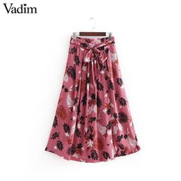 9355005b8e372 20187 Vadim stylish leaves print skirt elastic waist bow tie sashes buttons pockets  retro ladies summer midi skirts faldas mujer BA058