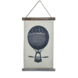 Классические картины онлайн-Ретро стены Хлопок льняной живописи Wooedn Frame Классика Картины Винтаж Висячий рисунок Горячий воздушный шар