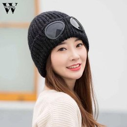 Wholesale Female Beanies - Womail Women Fashion Hats with Windproof Glasses Winter Hat Keep Warm Crochet Ski Hats For Female Woman Braided Caps Dec7