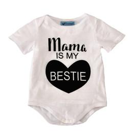 Barboteuse coeur de bébé en Ligne-Baby Summer Romper Boy Filles Combinaisons avec lettres Mama IS MY BESTIE Manches Courtes Coton Imprimé 0-18 M Coton