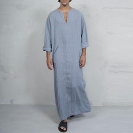 d28bc363e2 INCERUN Plus Size S-5XL Mens Shirt Cotton Long Sleeve V-neck Tops Solid  Loose Pockets Long Shirts Men Islamic Arab Kaftan 2018