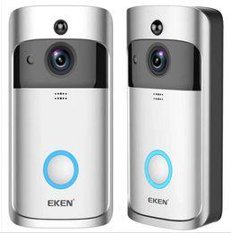 video real Rebajas EKEN Smart Home Video Timbre 720P HD para conexión Wifi Cámara de video en tiempo real Lente de audio bidireccional Visión nocturna con gran angular Movimiento PIR