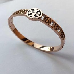 Wholesale Stamping Plate Christmas - New Arrival TT stamp 316L stainless Steel Rose Gold Plated Design Love Bracelet For Women