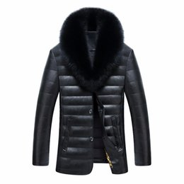 Wholesale Men S Formal Hats - Wholesale- New men jacket winter warm men's leather jackets and coats PU leather jacket men long winter jacket with really fox fur collar