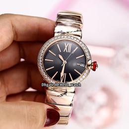 4a5cb6f99a3 Nova LVCEA 33mm 102260 Black Dial Japão Miyota 8215 Automático Das Mulheres  Assista Diamante Bisel Sapphire Rose Pulseira De Ouro Moda Senhora Relógios  ...
