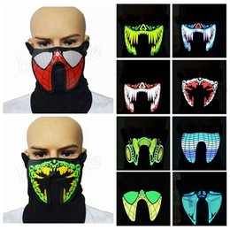 Wholesale light up led dance costumes - 27 design LED Luminous Flashing Cool Face Mask Party Masks Light Up Dance Halloween Costume Decoration Cosplay Party MMA332