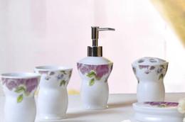 Зубная щетка онлайн-Экологичный 5шт Европейский Пион стиль керамическая ванная комната набор зубной щеткой держатель, бытовая щетка для мытья чашки, мыльницы, бутылка лосьона
