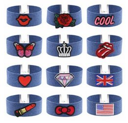 Wholesale Cool Crowns - New Blue Denim Embroidery Choker Necklace Collar Rose Cool Heart Diamond National Flag Crown Butterfly Charm for Women Jewelry