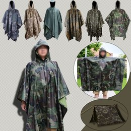 Wholesale raincoats for adults - 6 Styles CAMO Raincoat Camping Tents Men Women Cloths Windbreaker Table Picnic Blanket Camping Equipment Tactical Gear for Hunting