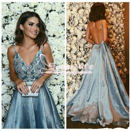 Wholesale Celebrities Spaghetti Dresses - 2018 Sexy Spaghetti A line Lace Applique Beaded Vestios De Soiree Prom Dresses Backless Formal Custom Made Celebrity Party Evening Gowns