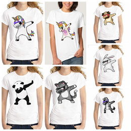 Wholesale funny girl baby clothes - Summer Unicorn Cartoon Funny T Shirts Kids Summer Tops Girls Boys Short Sleeve T shirt Rabbit Cat Baby Clothes