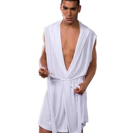 ice belts Promo Codes - YJSFG HOUSE Sexy New Men Robe Sets Summer Men's Sleep Lounge Belt Ice Silk Robe Gown Bathrobe Nightgown Sleeveless Hooded Robes
