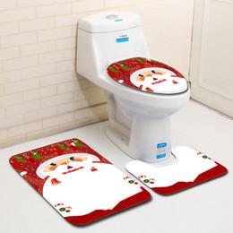 2019 almofada de papel higiênico descartável Feriado do Natal WC 3 Pieces Tapete Bathroom Door Mat Toilet Lid Decoração Variety Estilo Red And Blue Festival Jubilant Carpet