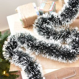 Wholesale Cane Top - Wholesale-Thicker lengthened Christmas Decoration Bar Tops Ribbon Garland Christmas Tree Ornaments Dark Green Cane Tinsel Party Supplies