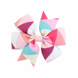 hair design multi Promo Codes - 1PCS New Fashion Handmade Boutique Multi - color geometric design Hair Bow Alligator Clip Kids Girls Clip DIY Headbands 2017