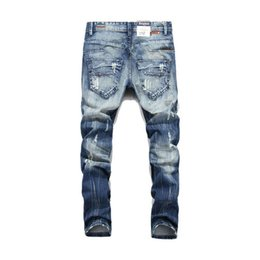 2019 jeans all'ingrosso Moda Balplein Jeans da uomo di marca Jeans lavati stampati per uomo Pantaloni casual con bottone Pantaloni firmati italiani Jeans da uomo all'ingrosso jeans all'ingrosso economici