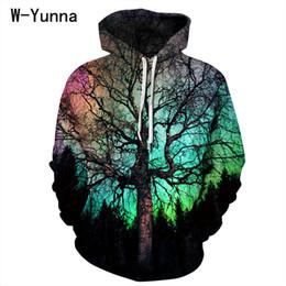 Tendencias de productos calientes online-W-Yunna Trending Products 2018 La nueva llegada Hot-Selling Big Tree Color Sky Sudaderas con estampado digital Sexy Winter Coat Women