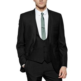 костюм-костюм Скидка Men's 3 Piece 2 Buon Closure Collar Black Suits Sets For Wedding With Modern Designed For Any Event Groom Men Suits