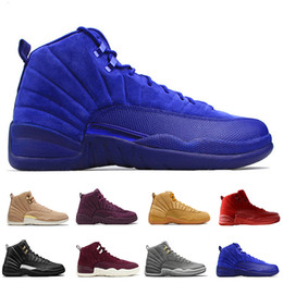 polyester cotton hot Coupons - Hot 12 12s men basketball shoes Wheat Dark Grey Bordeaux Flu Game The Master Taxi Playoffs Sunrise Royal Blue Red Suede Wool Sports sneakers
