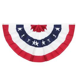 Ventilador de latão on-line-EUA Plissado fã bandeira, listras - cor afiada e desvanece-se resistente - Header de lona e ilhós de latão - Estados Unidos 45X90CM metade Fan Banner