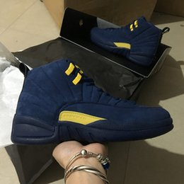 Wholesale wrestling shoes mens size 13 - 2018 New Arrival Jumpman 12 XII Michigan Blue Yellow Bordeaux Mens Basketball Shoes 12s Suede Designer Brand Sport Sneakers Size 7-13