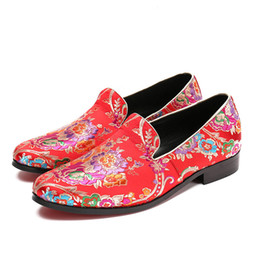 Wholesale dress handmade china - 2018 New Handmade Flowers Print Suede China Style Men Loafers Wedding and Party Men Shoes Fashion Men's Loafers