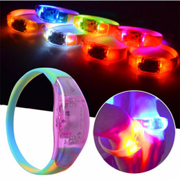 Wholesale party supplies disco - Sound Control LED Flashing Lighting Silicone Bracelet Music Activated Wristband Vocal Concert Party Supplies Club Party Bar Disco Cheer toy