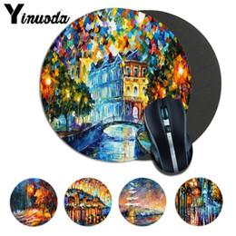 Wholesale unique design paint - Yinuoda Oil Painting Design Unique Desktop Pad Game Lockedge Mousepad Size for 20*20cm 22*22cm round mousepad Rubber Mousemats