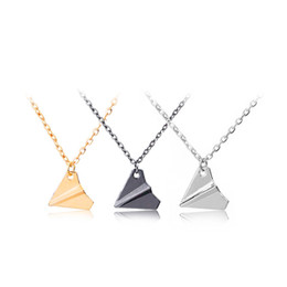 Wholesale Silver Paper Airplane - One Direction Origami Plane necklaces black Gold silver plated necklace Simple Paper tiny aircraft Airplane harry Styles jewelry 160550