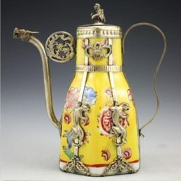 Te tibet online-CHINO TIBET PLATA PORCELANA MONO tapa TEA POT